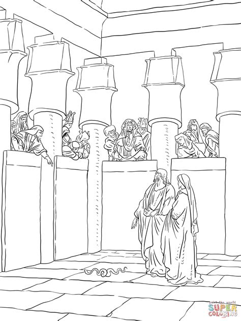 Pharaoh And Moses Coloring Pages by Moses And Aaron Appear Before Pharaoh Coloring Page Free