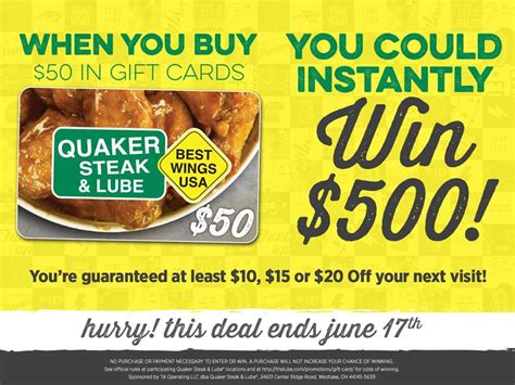 Gift Card Rewards Websites - quaker steak lube spring gift card program rewards guests with instant scratch and