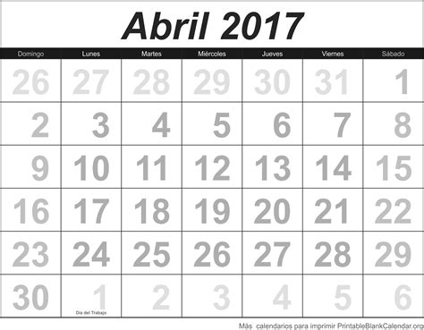 calendario abril 2017 para imprimir abril 2017 agenda calendarios para imprimir