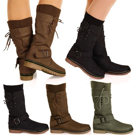 trendy boots for d6z womens mid calf pull on lace up sock detail
