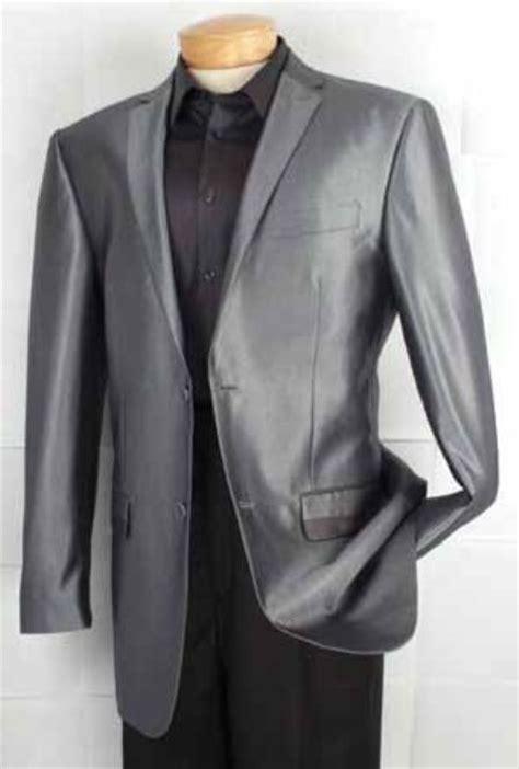 mens fashion  button shiny sharkskin fabric sport coat gray