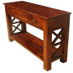 Wood Console Table Solid Wood Oklahoma Farmhouse Console Table W 3 Storage Drawers