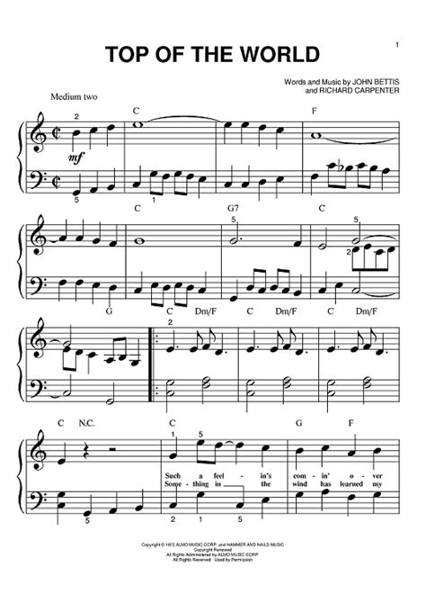 best sheets in the world top of the world sheet music music for piano and more