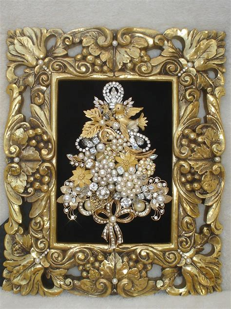 Jewellery Garden Decoration by Vintage Jewelry Framed Tree Rhinestones