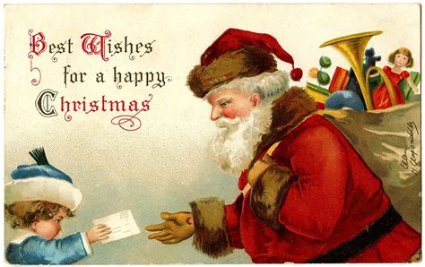 antique image santa  letter  child  graphics fairy