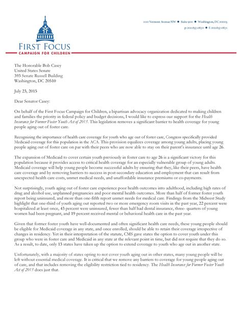 Support Letter For Youth Program Support For The Health Insurance For Former Foster Youth Act Of 2015