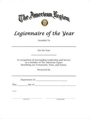 Legionnaire Of The Year Certificate American Legion Flag Emblem American Legion Business Card Templates