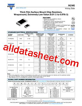 vishay 1206 resistor datasheet rcwe1206r560fkea datasheet pdf vishay siliconix