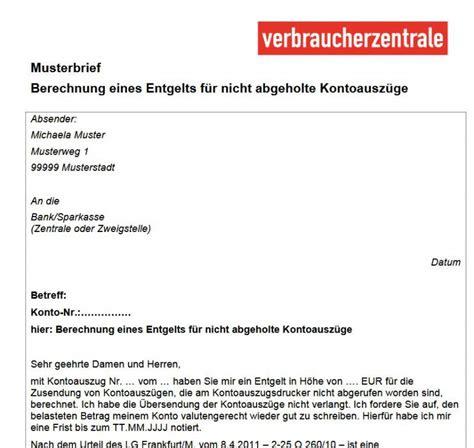 Bank Bearbeitungsgebühr Zurückfordern Musterbrief Verbraucherzentrale Muster Vorlage Fr Geschftsbrief Zum Jetzt