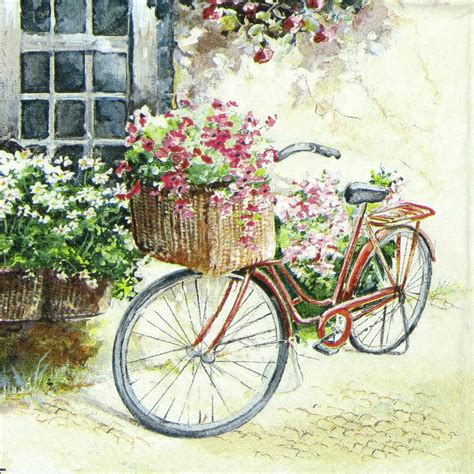 4x vintage flower bike paper napkins for decoupage craft