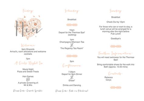Hen Itinerary Template Free