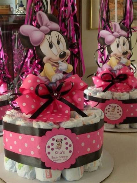 Minnie Mouse Centerpieces For Baby Shower by Minnie Mouse Baby Shower Diapers Centerpiece With Balloon