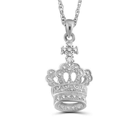 jewelonfire white accent sterling silver crown pendant