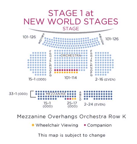 new world stages seating chart new world stages stage 1 shubert organization