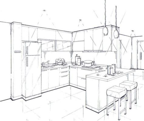 drawn kitchen sketch pencil and in color drawn kitchen