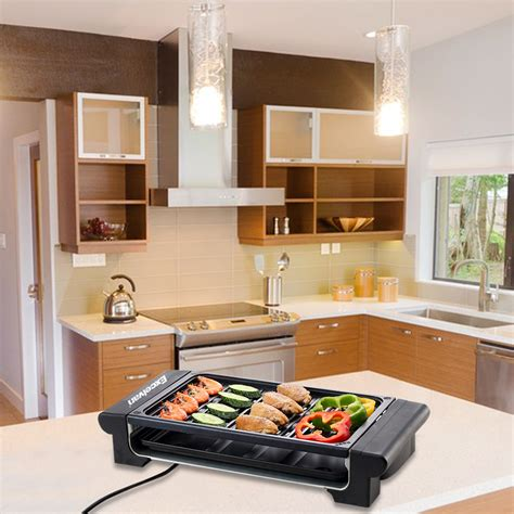 indoor kitchen portable barbecue electric indoor grill smokeless kitchen non stick cooking bbq ebay
