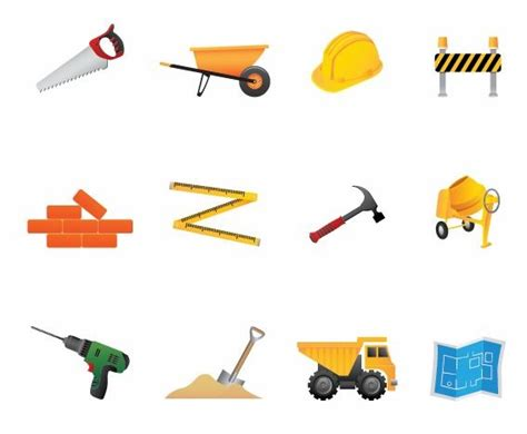 construction tools clip building and construction tools vector icon set free