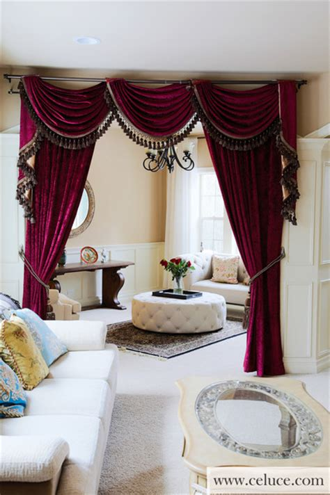 Flip Pole Swag Valance Curtains Traditional Living Room seattle by Celuce