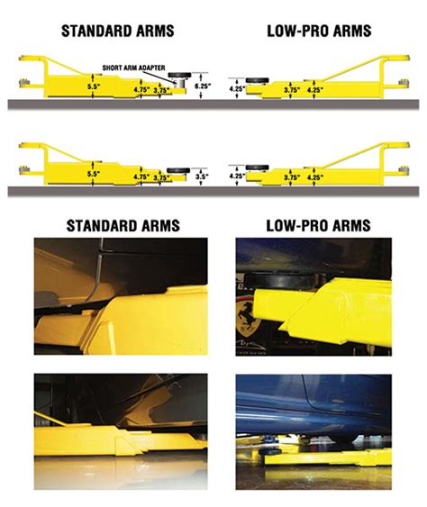 low ceiling 2 post lift two post lift low profile arms for sports cars