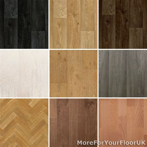 wood plank vinyl flooring roll quality lino anti slip kitchen bathroom cheap ebay