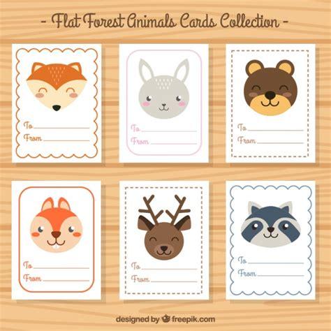 Libre Draw Card Template by Cartes De Collection De Beaux Animaux En Design Plat