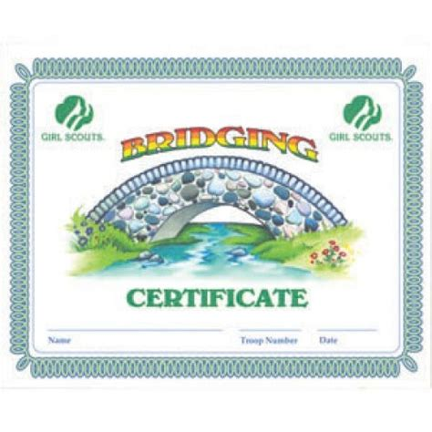 printable girl scout cadettes bridging certificate just