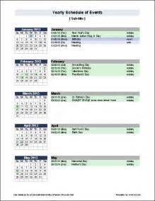 calendar event template free yearly schedule of events template