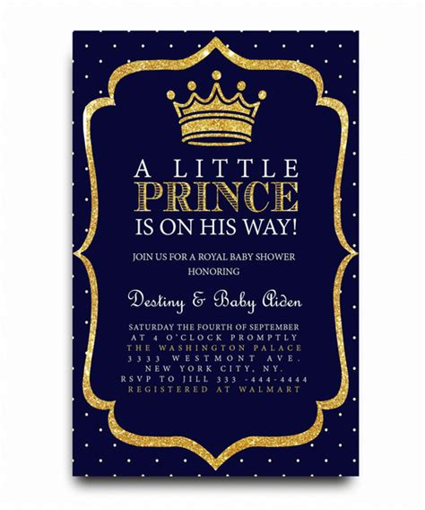 Little Prince Baby Shower Invitation Royal Baby Free Royal Prince Baby Shower Invitation Template