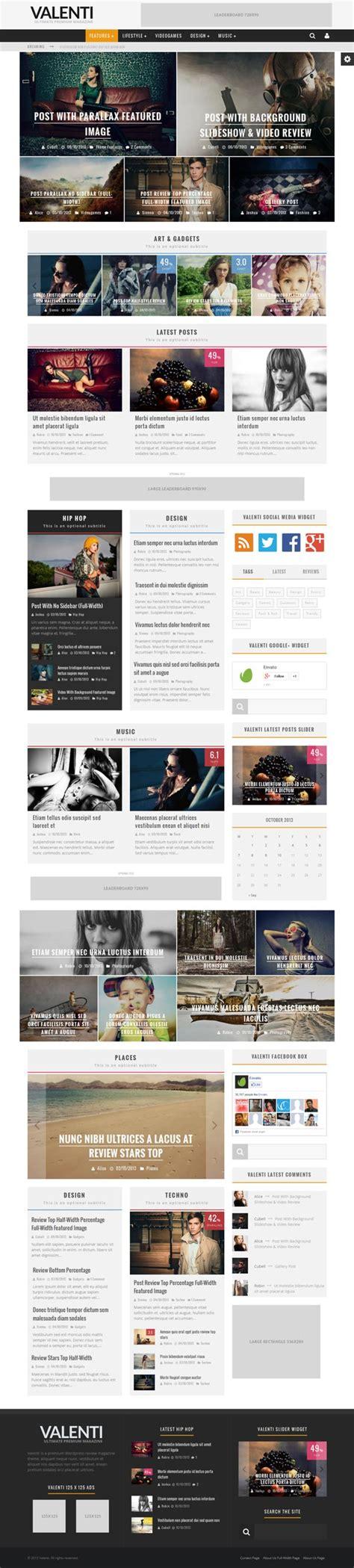 theme wordpress valenti valenti wordpress hd blog and magazine theme by cubell