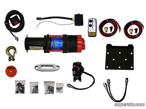 atv 3500 lb synthetic rope atv winch with wireless