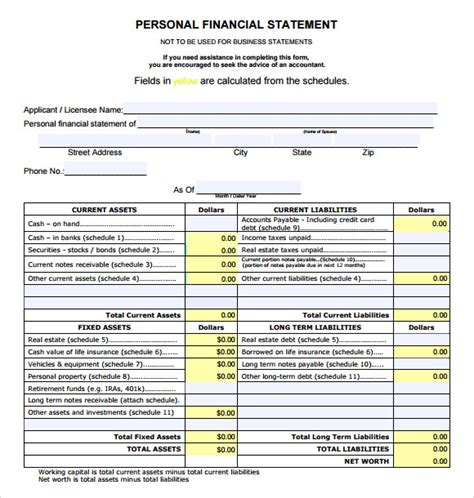 financial statement template sle financial statement 7 documents in pdf word