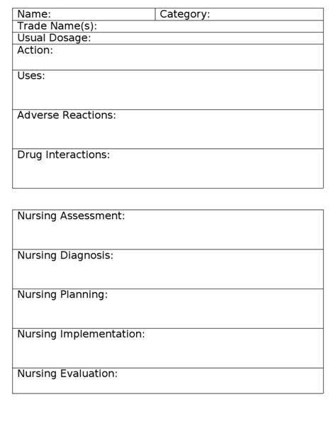 medication card template for nursing students card card template