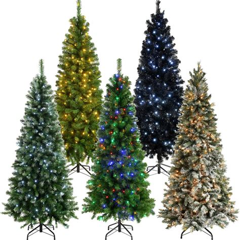 slim thin narrow pine pre lit christmas tree warm led