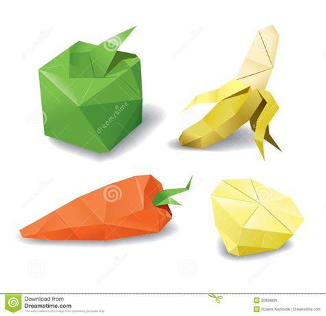 Origami Fruit - origami fruits set royalty free stock images image 20658839