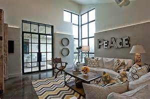 yellow and gray chevron rug contemporary living room