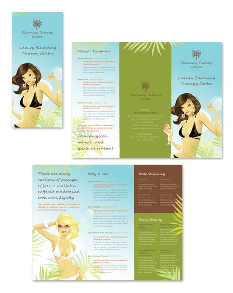 therapy brochure templates slimming therapy centre tri fold brochure template