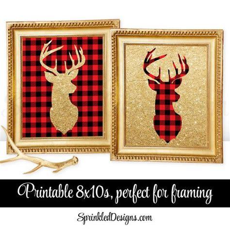 home decor red deer printable winter home decor deer head signs lumberjack