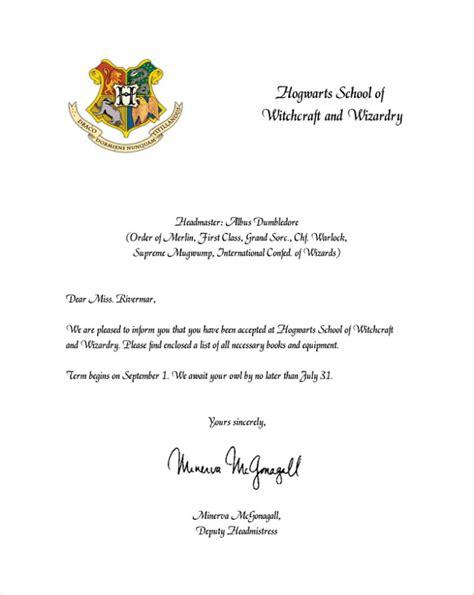 hogwarts acceptance letter documents