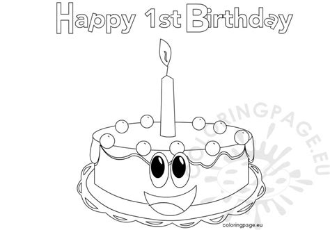 happy 1st birthday images coloring page
