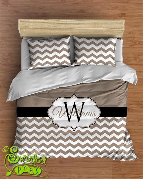 Comforter Or Duvet Bed Set Chevron Personalized With Name Monogram Bedding Sets