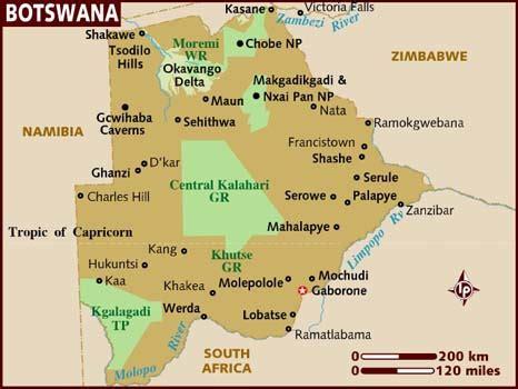 botswana map map of botswana