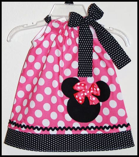minnie mouse applique dress in pink dot