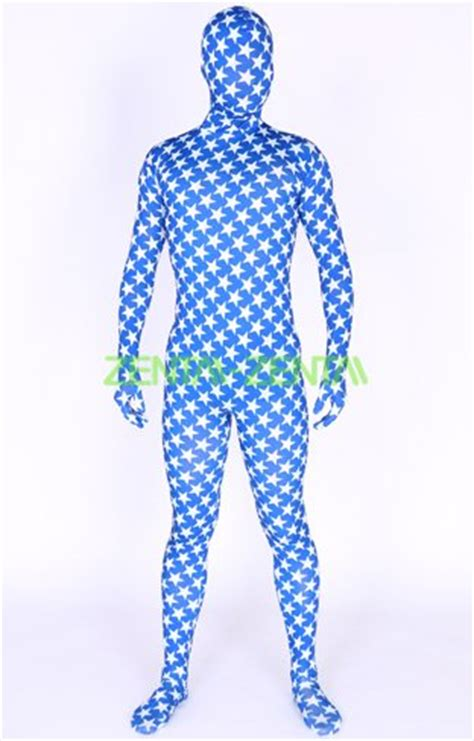 pattern zentai suit blue lycra spandex full body zentai suit with stars pattern