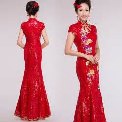 Embroidered floral red sequins mandarin collar modern qipao floor