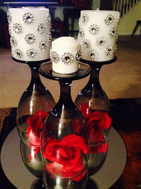 Wine glass centerpiece with rhinestone candles   Mckenzie