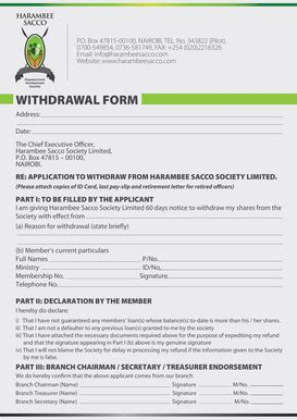 Withdrawal Letter From Sacco withdrawal letter from a sacco fill printable