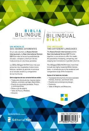 libro nvi niv biblia bilingue tamano biblia bilingue nvi niv nueva edici 243 n editorial vida