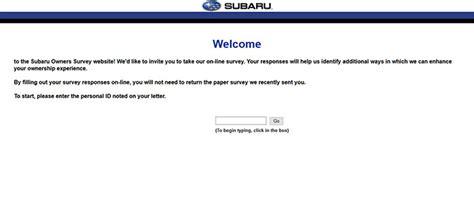 Www Survey Subaru Survey Subaru Subaru Owners Feedback Survey