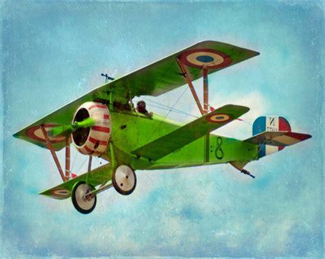 vintage airplane art print green blue by sevenelevenstudios