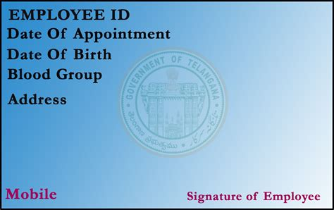 government id card template t r c employee id card template